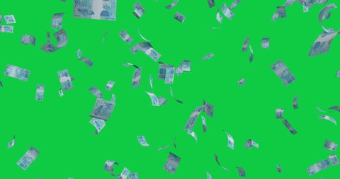Flying 100 Brazilian real banknotes - 4K 60fps 3d render Isolated on green background