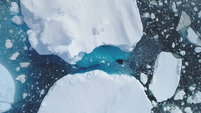 Antarctica Iceberg Ocean Seascape Aerial View. Wildlife North Polar Sea Motion Scenery Climate Change Concept. Majestic Actic Deep Clear Water Surface Scene Top Down Drone Overview Footage 4K (UHD) | Shutterstock HD Video #1026731405