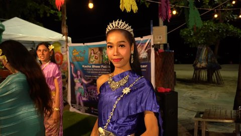 Fantastic beautiful ladyboy on the seafront in Pattaya, Suanthai. Pattaya, Thailand, 02.04.2019