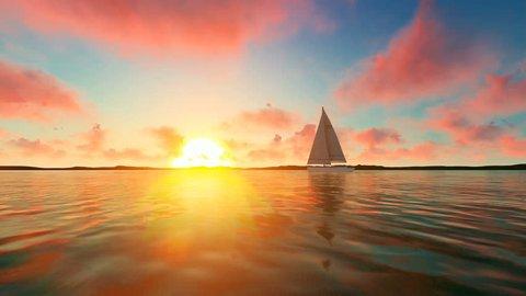 Sailing boat at sea at sunset