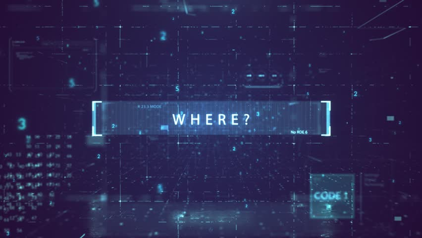 "The animated inscription ""WHERE?"" typing writing on digital dark violate background. Futuristic information technology concept. Digitalization of Information Flow Moving Through IT digital background. 