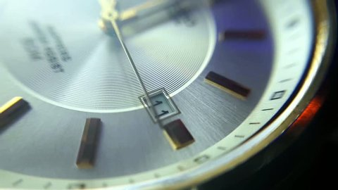 Extreme Close-Up View Of Men's Wristwatch Mechanical Clock. Day 11