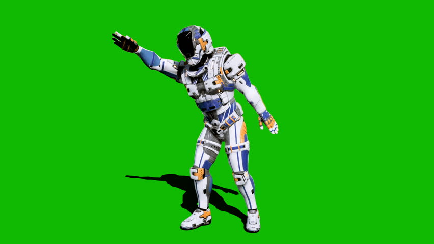 Astronaut-soldier of the future, dancing in front of a green screen. Looped realistic animation. | Shutterstock HD Video #1027024565