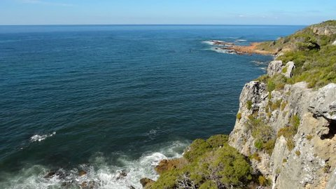 Cape Naturaliste, Western Australia - April 3, 2019: View from a look-out from the cape east over the limestone cliffs and to the sea with audio