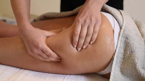 Anti cellulite massage for young woman. Perfect skin fat burning beauty concept