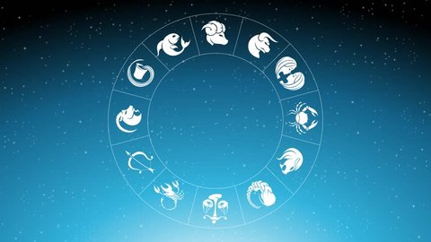 Animation of Zodiac Star Signs Rotating Around Taurus Zodiac Sign Over Blue Starry Sky
