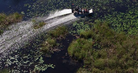 Everglades, Florida / United States - December 1 2018: Overhead Aerial of Airboat in Swamp, Bayou Slow Motion