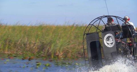 Everglades, Florida / United States - September 27, 2018: Everglades Tour, Group Exploring Swamp on Airboat