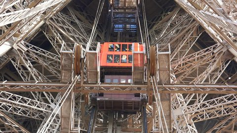 Paris France Circa May 2017 Low Angle View Of The Main Elevator In The Inside Of The Eiffel Tower The Most Famous Landmark In Paris France