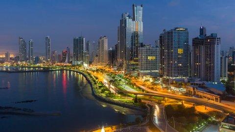 Panama City, Panama, Central America - CIRCA 2016: city skyline time lapse