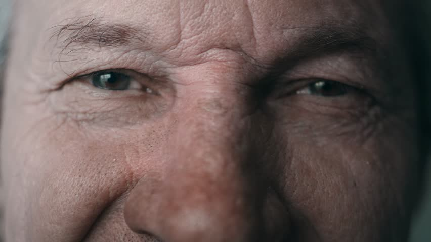 Close-up portrait of an old man. Eyes of an elderly man close-up. A grown man looks at the camera, blinks, smiles. Cool color, slow motion. 4K | Shutterstock HD Video #1027246775