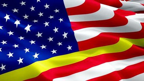 911 memorial Responder Flag Wave Loop waving in wind. Thin Gold Line Emergency medical responder Flag background. 911 Responder Flag Looping Closeup 1080p Full HD 1920X1080 footage. 911 Responder