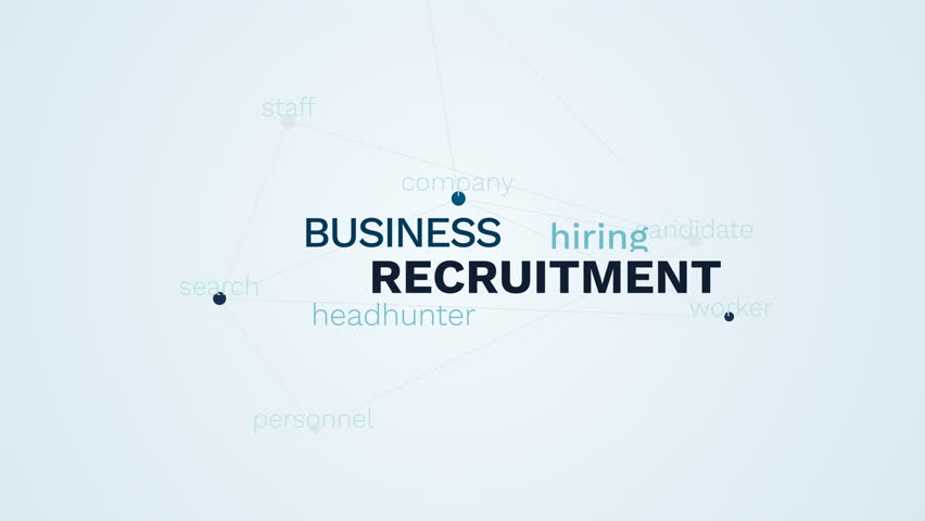 Recruitment business headhunter hiring candidate career company worker search personnel staff animated word cloud background in uhd 4k 3840 2160. | Shutterstock HD Video #1027293935