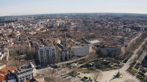 Nîmes old city in France from an aerial view winter sunny day