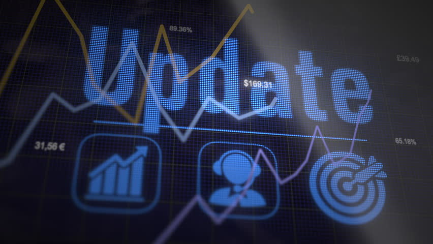 Update business concept on a flashing computer monitor with moving graphs and data. | Shutterstock HD Video #1027328375
