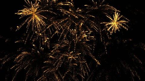 Fireworks explode on a black background.Fireworks display celebration, Colorful Firework.