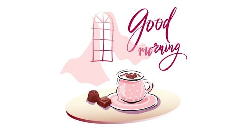 A good start to the day in a cozy atmosphere with a cup of coffee. A warm breeze from the window inflates the light curtains. Flying hearts tune into a romantic mood. Good morning!