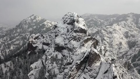 Feel the chill of this blizzardy mountain peak captured in stunning 4K. Unreal perspective and depth. Perfect for themed presentations, story telling, adverts and B-Roll footage.