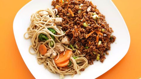 Chinese food rice and stew chow mein