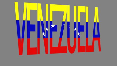 """The animated letters of the word """"Venezuela"""" in national colors are fluttering like a flag in the wind. This clip has an additional alpha matte that allows to get the background transparent."""