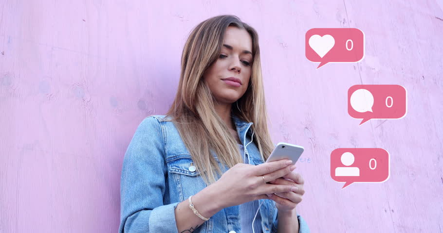 Beauty Cute Influencer Girl Typing on Smartphone Summer Retro Looks with Pink Background Social Media Icons with Like Comment Follower Counter Quick Increase