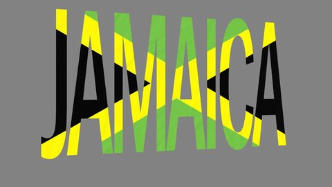 "The animated letters of the word ""Jamaica"" in national colors are fluttering like a flag in the wind. This clip has an additional alpha matte that allows to get the background transparent."