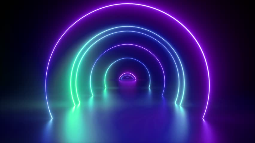 3d render, flight through tunnel, neon light abstract background, round arcade, portal, rings, circles, virtual reality, ultraviolet spectrum, laser show, fashion podium, stage, floor reflection | Shutterstock HD Video #1027576115