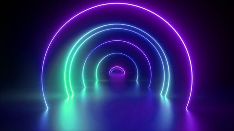 3d render, flight through tunnel, neon light abstract background, round arcade, portal, rings, circles, virtual reality, ultraviolet spectrum, laser show, fashion podium, stage, floor reflection