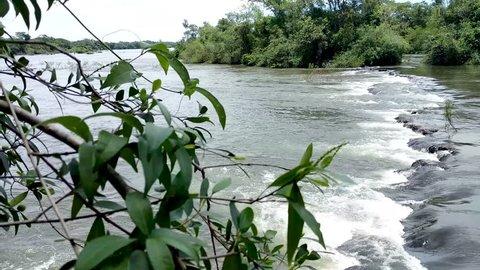 View of the Iguazu River bordering Argentina and Brazil,ing towards Iguazu Falls.