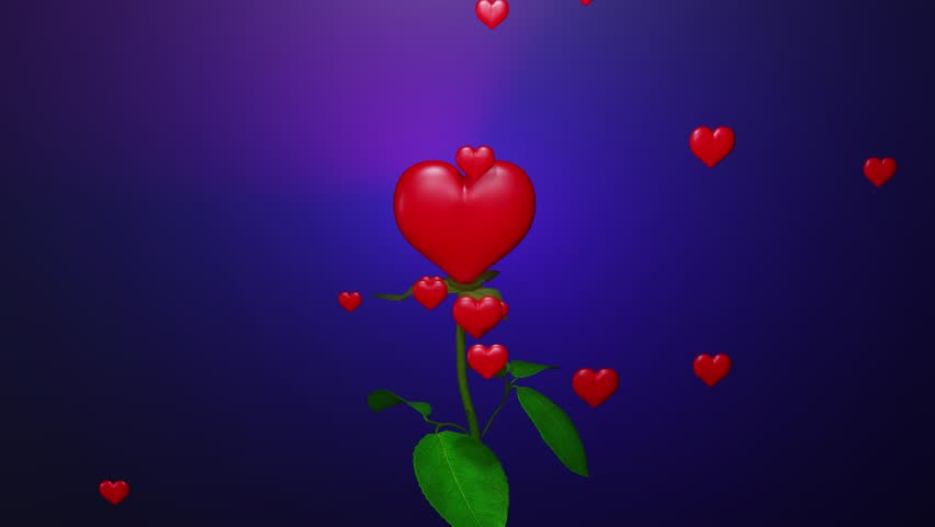 A spinning red rose with flying petals that move away from the centre revealing a red heart inside the flower emanating little flying hearts, with beautiful color background - 3D illustration