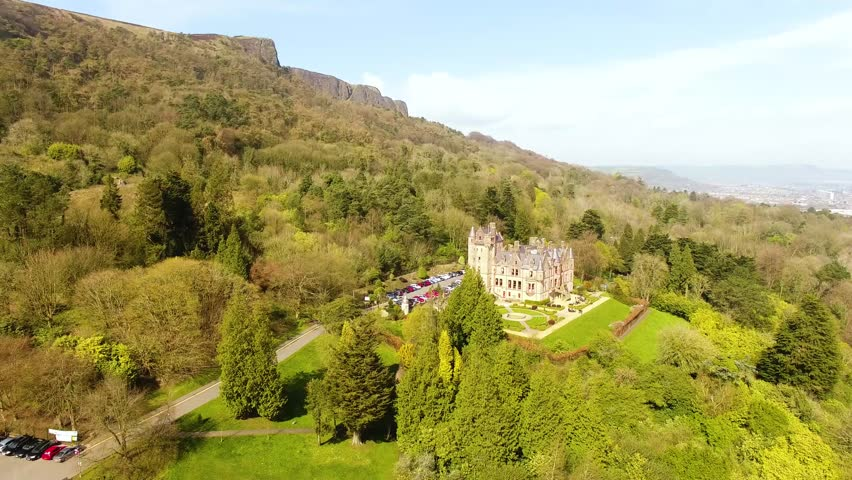 Belfast Castle overlooking the City from Cave Hill Co. Antrim Northern Ireland  | Shutterstock HD Video #1027625915