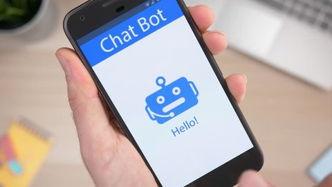 Chatbot app on a smartphone being used to answer a user question.