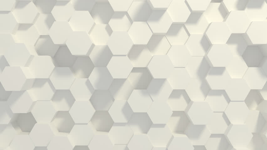 Abstract Honeycomb Background Loop wide angle. Light, minimal, clean, moving hexagonal grid wall with shadows. Loopable 4K UHD Animation. | Shutterstock HD Video #1027650785