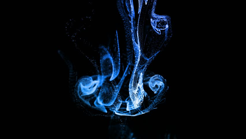4k glow particles move in a stream of liquid in… - Royalty