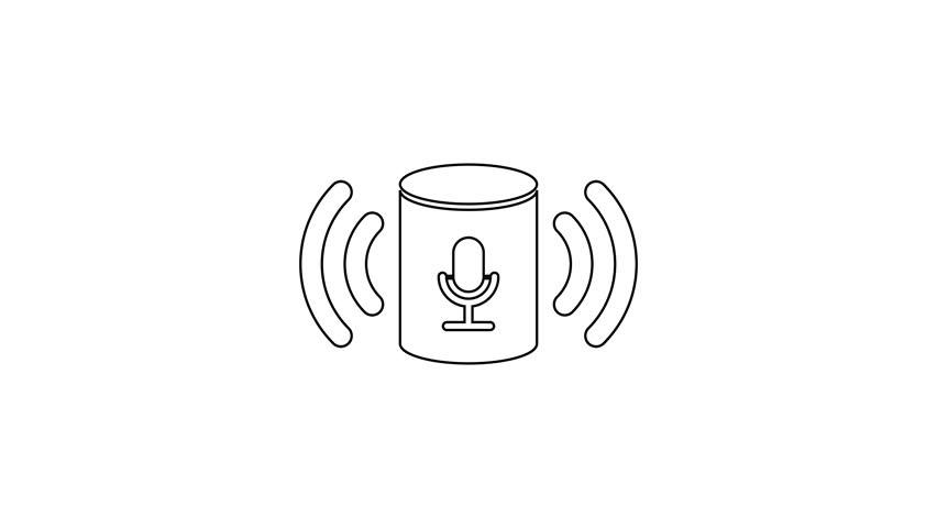 Grey Voice Assistant Line Icon Stockowy Materiał Wideo 100 Beztantiemowy 1027690895 Shutterstock
