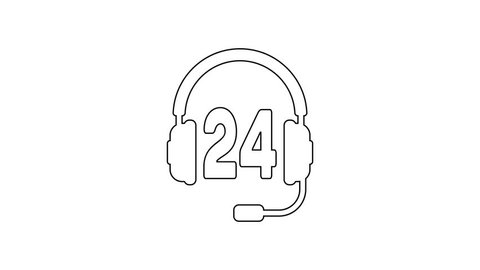 Grey Headphone for support or service line icon on white background. Concept of consultation, hotline, call center, faq, maintenance, assistance. 4K Video motion graphic animation