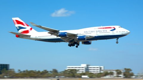 MIAMI, FL - 2019: British Airways Boeing 747-400 Commercial Jet Airliner Landing at MIA Miami International Airport Arriving from London Heathrow on a Sunny Day in South Florida