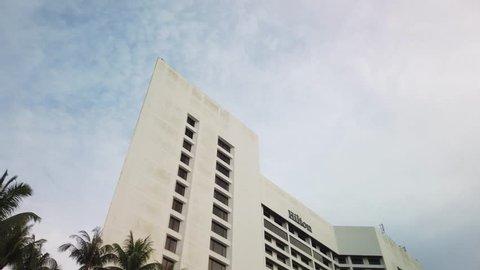 KUCHING, SARAWAK - APRIL 2019. Cinematic shot of Hilton Hotel Kuching. Hilton Kuching are located at Jalan Main Bazaar and is one of the largest hotel in kuching