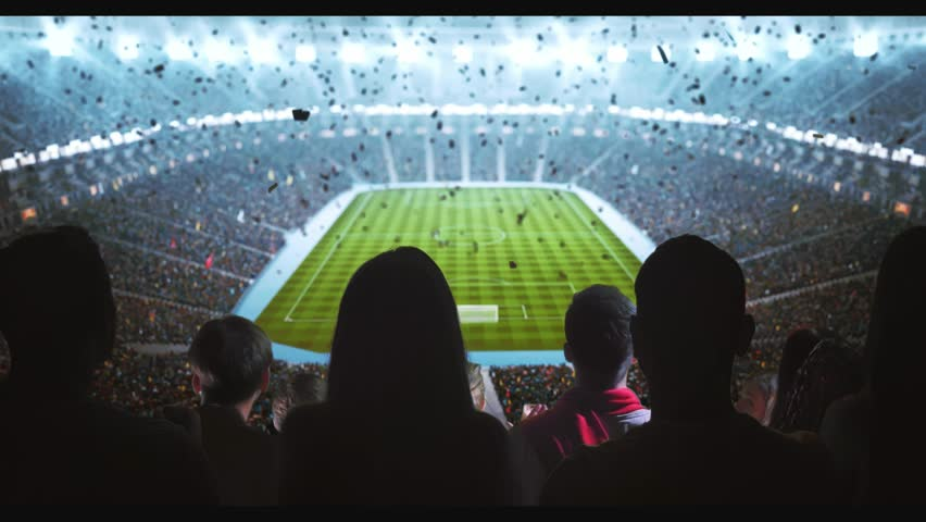 Group of cheering fans watch a sport championship on stadium. Their team wins and everybody are celebrating this event. People are dressed in casual clothes. Colorful confetti fly in the air. | Shutterstock HD Video #1027762925