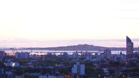 Time lapse of Montevideo Uruguay port day to night