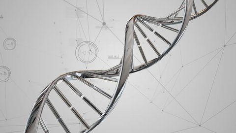 Digitally generated animation of double helix DNA rotating and background shows asymmetrical lines