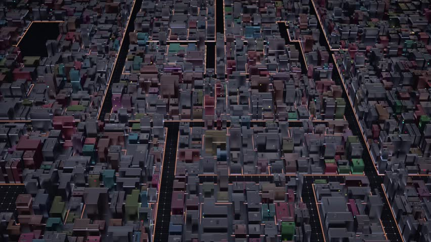 Aerial View of abstract informational background with multicolor buildings. 3D Rendering. City Buildings with orange lines and flashing lights. Technology-Futuristic. Seamless loop. 4k animation. | Shutterstock HD Video #1027790015