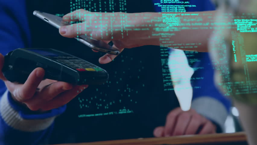 Close up of a cashier and and another person trying to scan a bar code. Interface codes are running in the foreground | Shutterstock HD Video #1027824425