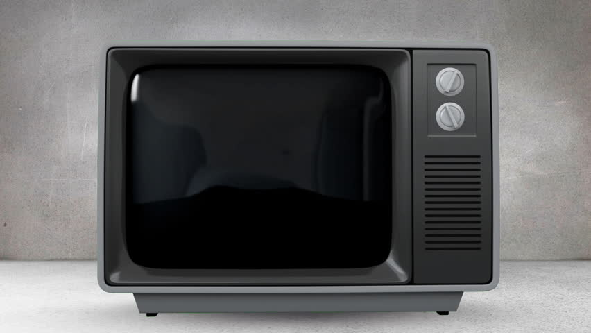 Digital animation of a television in a grey room with arrows moving up its screen | Shutterstock HD Video #1027839365