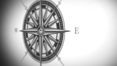 Compass Rose Animation Background Loop/ 4k animation of a black and white nautical compass rose on vintage old textured background