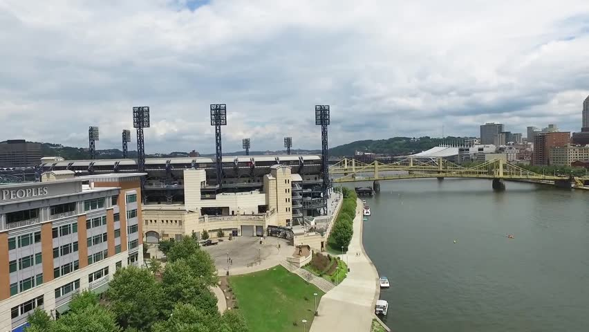 Aerial push in on the rear of PNC Park, Pittsburgh Pennsylvania.Concept: urban, cityscape, sporting, fields, ?drone | Shutterstock HD Video #1027921535