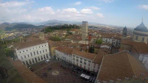 Bergamo, Italy, April 2019: Panoramic View Over Beautiful Old Town of Bergamo and Piazza Vecchia; Shot of Bergamo Citta Alta from Campanone Tower
