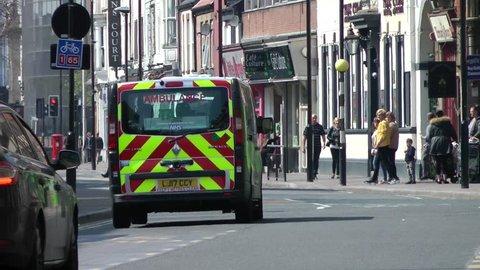 UK Police van driving down city Centre Street. Kingston upon Hull city centre 16/04/2019