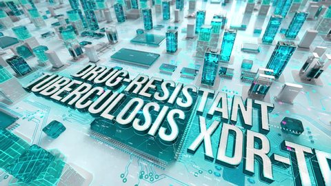 Drug-Resistant Tuberculosis XDR-TB with medical digital technology concept