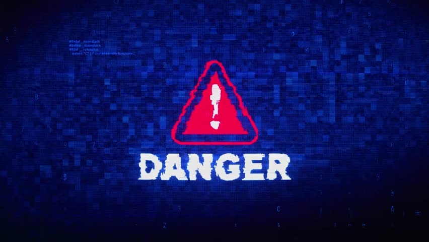 Danger Text Digital Noise Glitch Effect Tv Screen Background. Login and Password With System Error Security ,Hacking Alert , Cyber Crime Attack Computer Error Distortion Message .